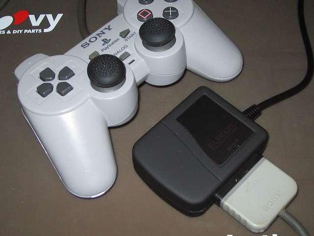 PS プレイステーションコントローラー DUALSHOCK デュアルショック SCPH-1200 メンテナス後、USB ゲームパッドコンバータ JC-PS101UBK にコントローラー接続