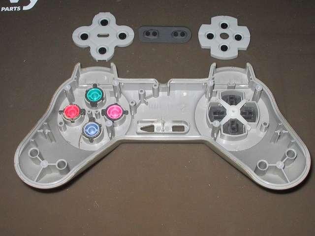 PS プレイステーションコントローラー PlayStation Controller SCPH-1080 メンテナンス、分解作業 コントローラー本体上部プラスチックカバーからラバーパッドを取り外す