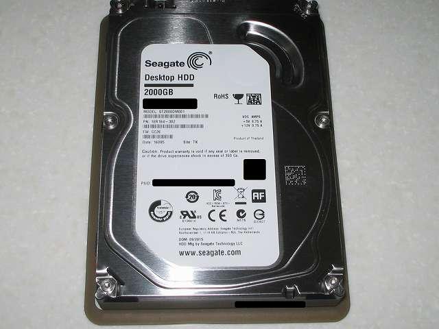 Amazon.co.jp 限定 Seagate HDD Barracuda 7200シリーズ 2TB メーカー保証 2年+1年 延長保証付き ST2000DM001/EWN (FFP) 2015年9月購入 ST2000DM001 1ER164-302 CC26 Thailand