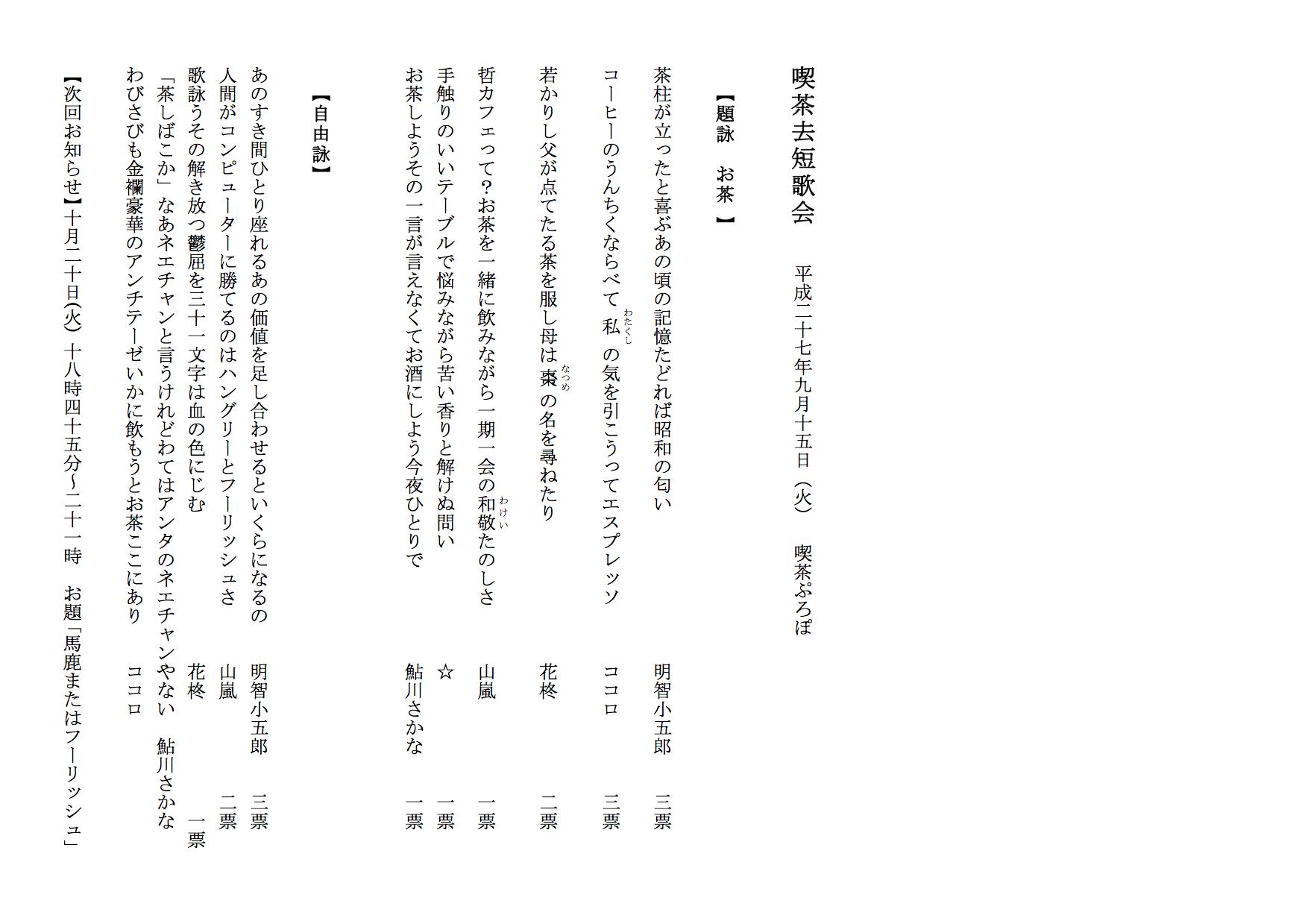 01509 喫茶去短歌会  平成二十七年九月十五日(火) 喫茶ぷろぽ