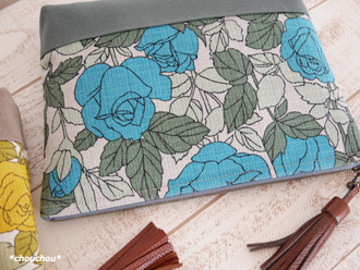Retro rose 秋色クラッチ ブルー