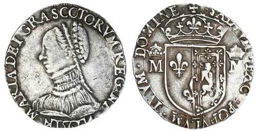 メアリースチュアート スコットランド女王 テストーン銀貨 6グラム