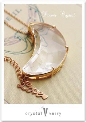月型水晶ペンダント K18 ピンクゴールド