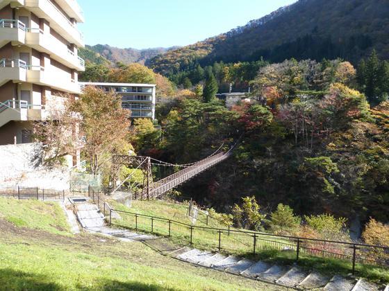 鬼怒川左岸から滝見橋を振り返る
