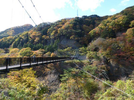 見事に色づく紅葉の鬼怒楯岩大吊橋