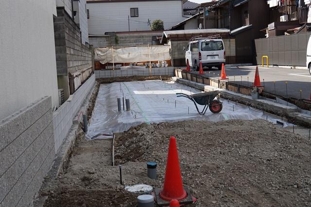 京都市上京区・和モダン,事務所併用住宅|基礎工事