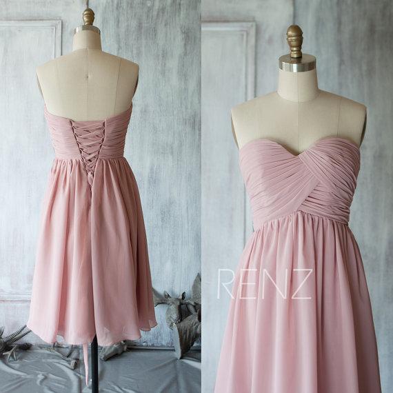 ダスティピンクブライズメイドドレス