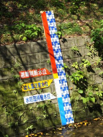 引地川・大和市福田八幡橋の水位表示板