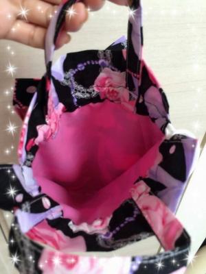 桜 美月リボン巾着黒