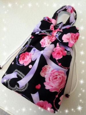 桜 美月プロデュースリボン巾着バラ黒