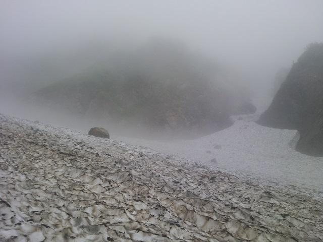 雪渓天候悪化