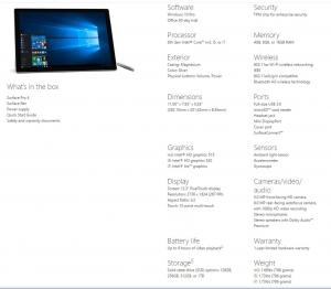 Surface Pro4 Spec