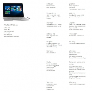 Surface Book spec