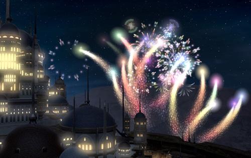 ウルダハの夜空に花火