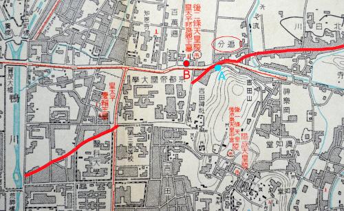 昭和初期の京都帝大附近(『皇陵巡拝案内記』)