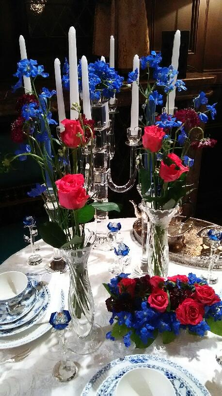 小笠原伯爵邸アレンジ ブルーのテーブル