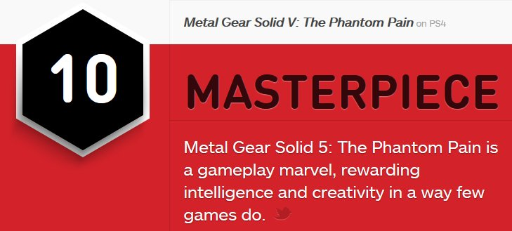 メタルギアソリッドVレビュー - IGN 10-10