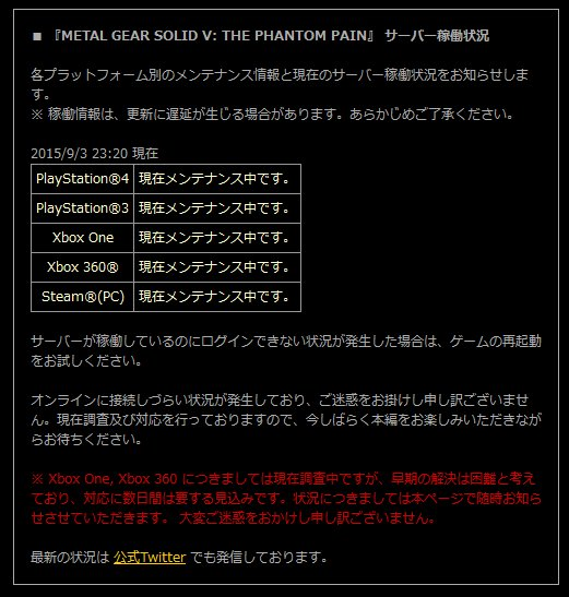 『METAL GEAR SOLID V THE PHANTOM PAIN』 サーバー稼働状況