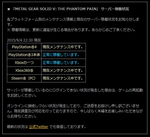 『METAL GEAR SOLID V THE PHANTOM PAIN』 サーバー稼働状況2
