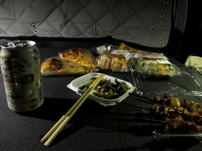 道の駅遠野 車内で夕食