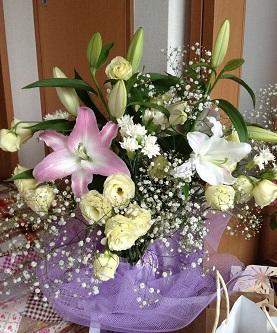 Kさんからいただいたお花の百合が咲き始めました?