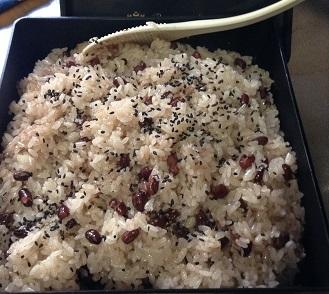小豆でお赤飯^^