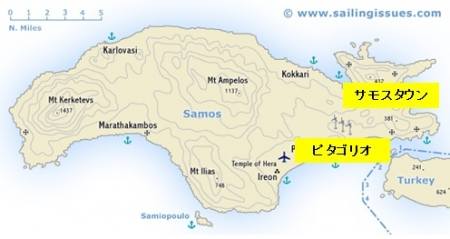 サモス島地図