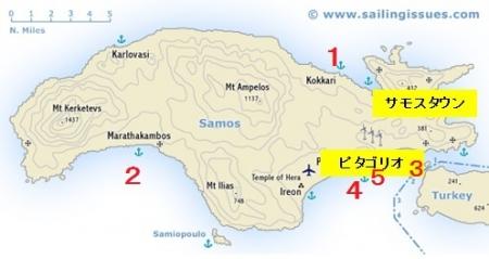 サモス島ビーチマップ