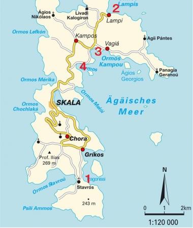 パトモス島ビーチ地図
