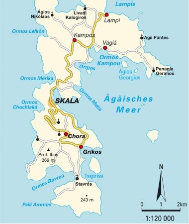 パトモス島地図