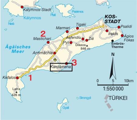 コス島ビーチ地図