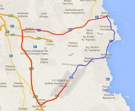 アテネ空港付近地図