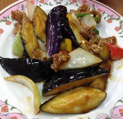 秋ナスと豚肉の炒め物