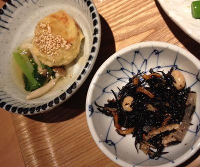 小皿と和風あんかけ豆腐ハンバーグ