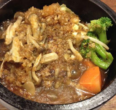 フレッシュきのこの石焼四川風味噌ハンバーグ