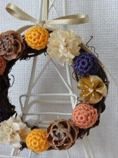 編み玉のリースHalloween2