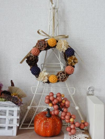 編み玉のリースHalloween3