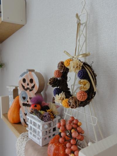 編み玉のリースHalloween6