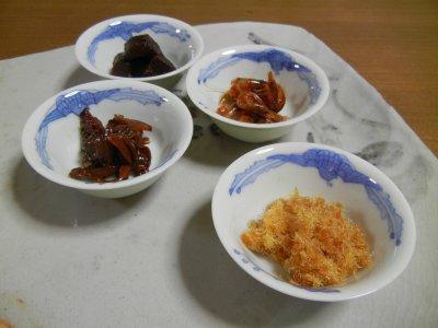 佃信の佃煮4種(まぐろ角煮、海老、あさり、田夫)