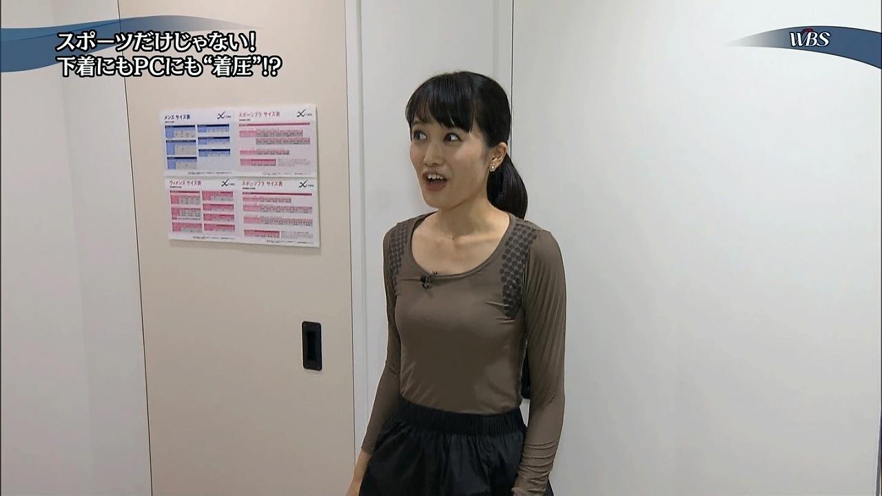 テレ東「WBS(ワールドビジネスサテライト)」でぴっちり着圧下着を試着した大澤亜季子アナの貧乳おっぱい