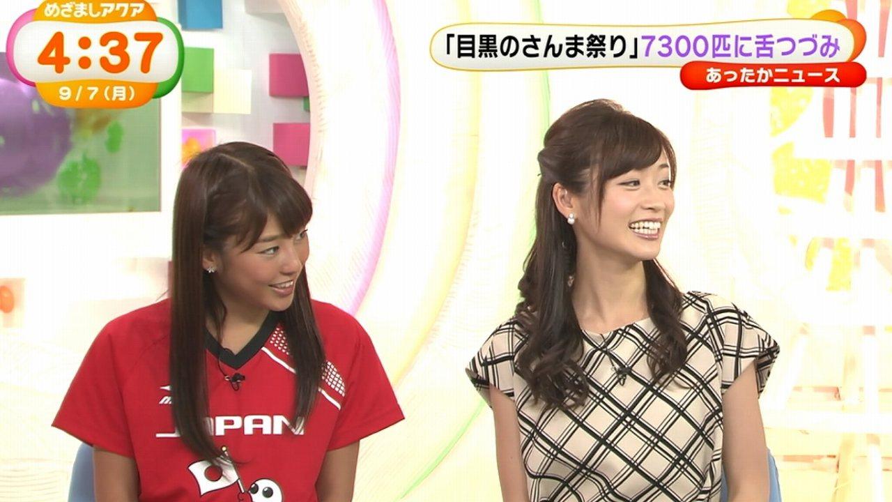 2015年9月7日のフジテレビ「めざましアクア」、フライデーに不倫画像掲載後に初めてテレビ出演した牧野結美アナと岡副麻希