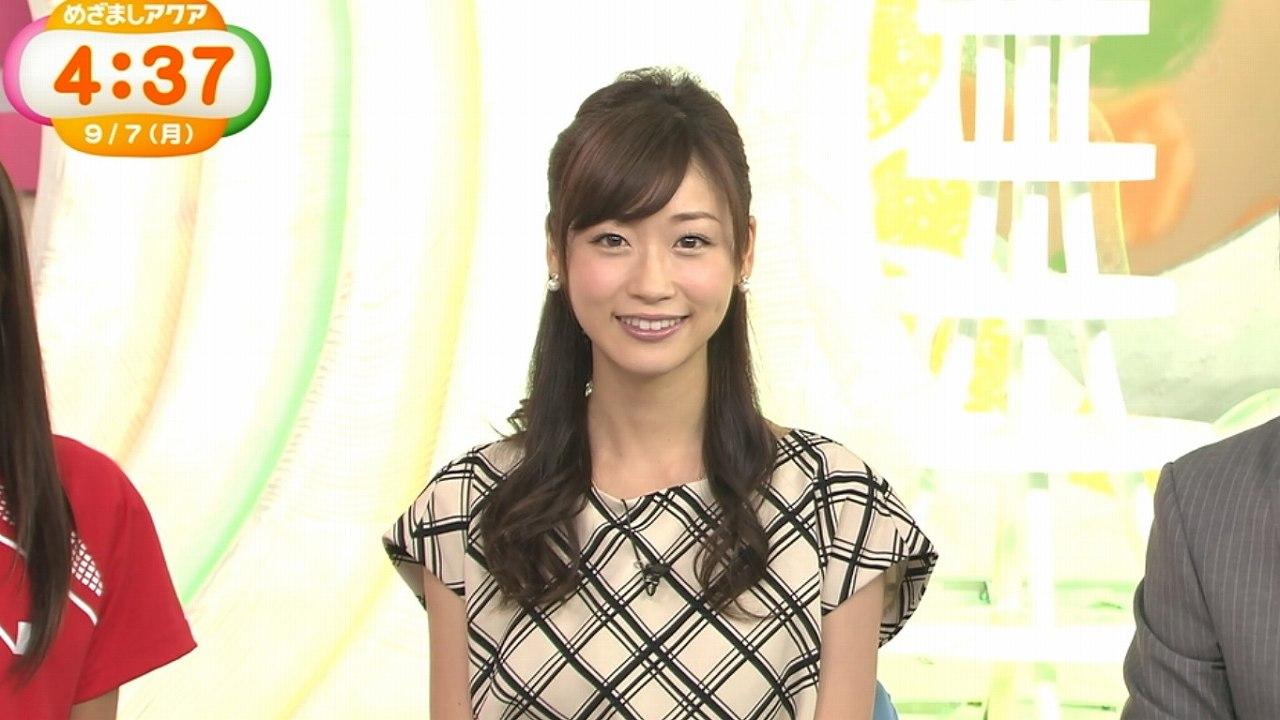 2015年9月7日のフジテレビ「めざましアクア」、フライデーに不倫画像掲載後に初めてテレビ出演して笑顔を見せる牧野結美アナ