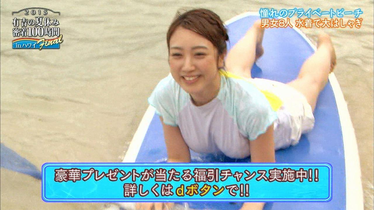 「有吉の夏休み2015密着100時間inハワイFinal」、水着でずぶ濡れになった川田裕美アナのおっぱい