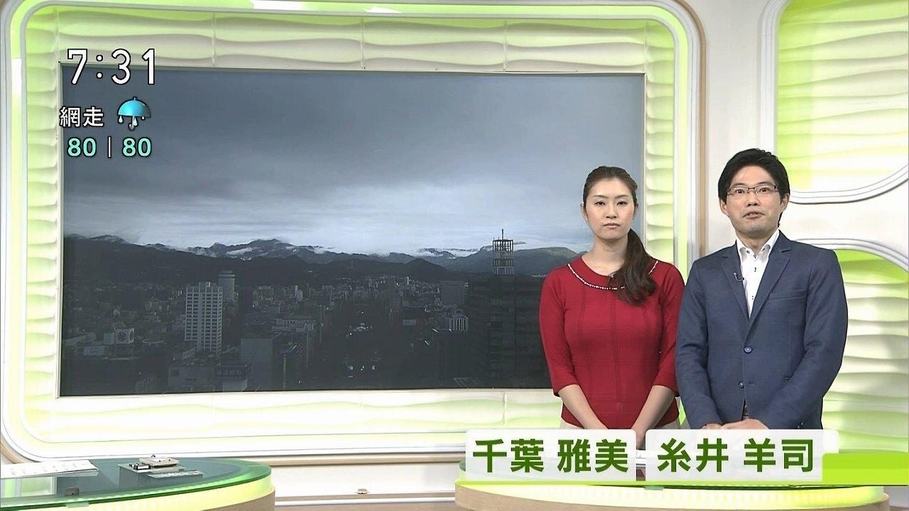セーターを着てニュースを読むNHK札幌・千葉雅美アナの爆乳