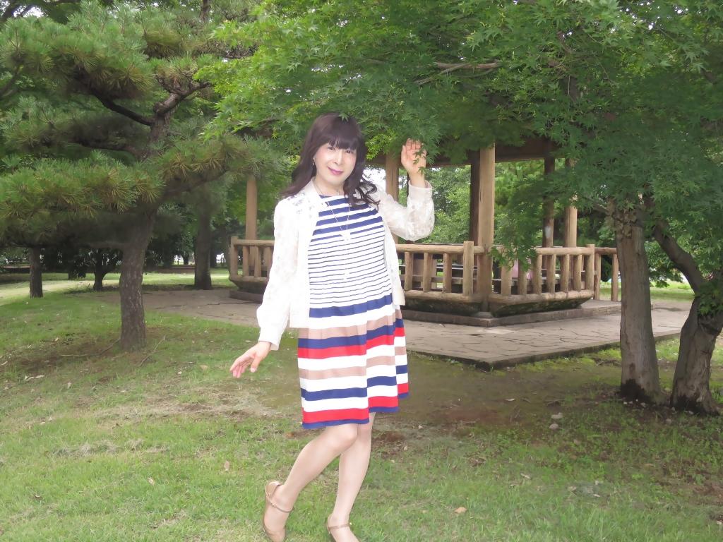 マルチボーダー柄ワンピ公園A(3)