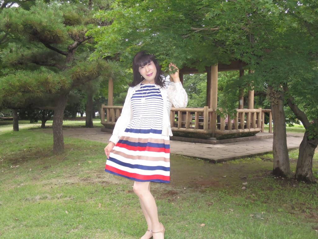 マルチボーダー柄ワンピ公園A(4)