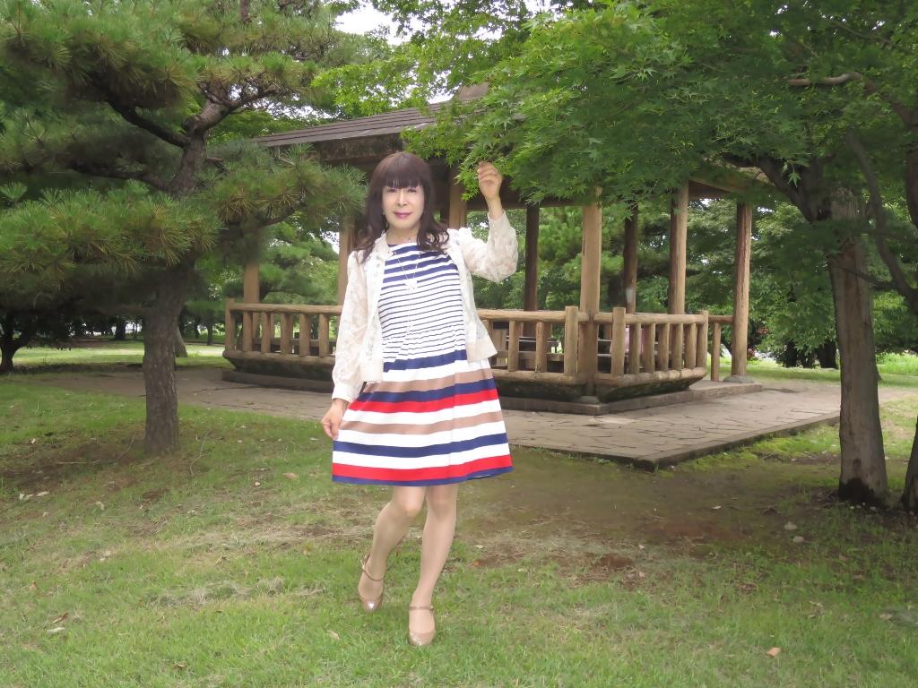 マルチボーダー柄ワンピ公園A(5)