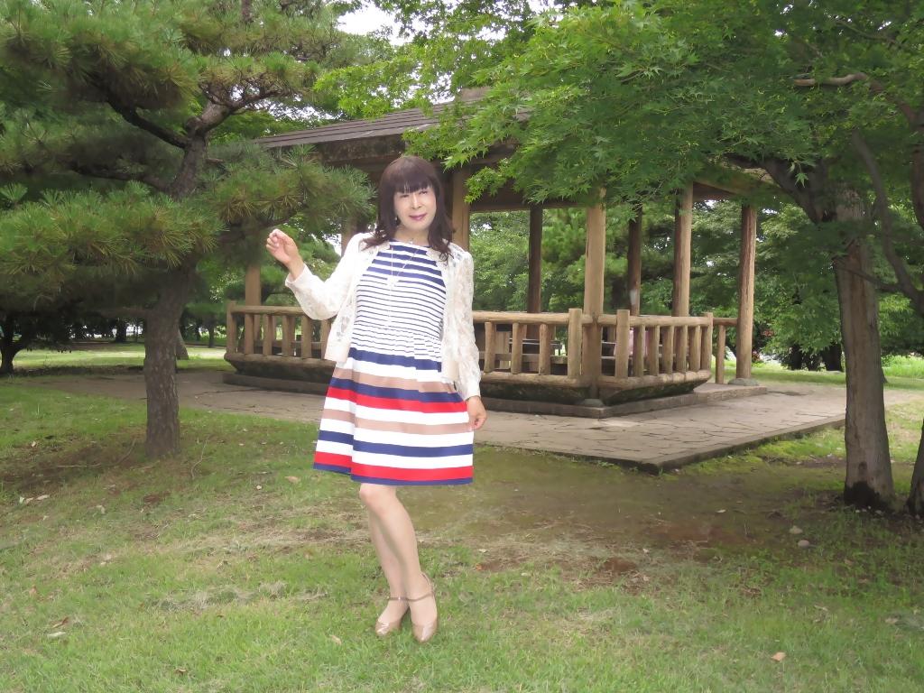 マルチボーダー柄ワンピ公園A(6)