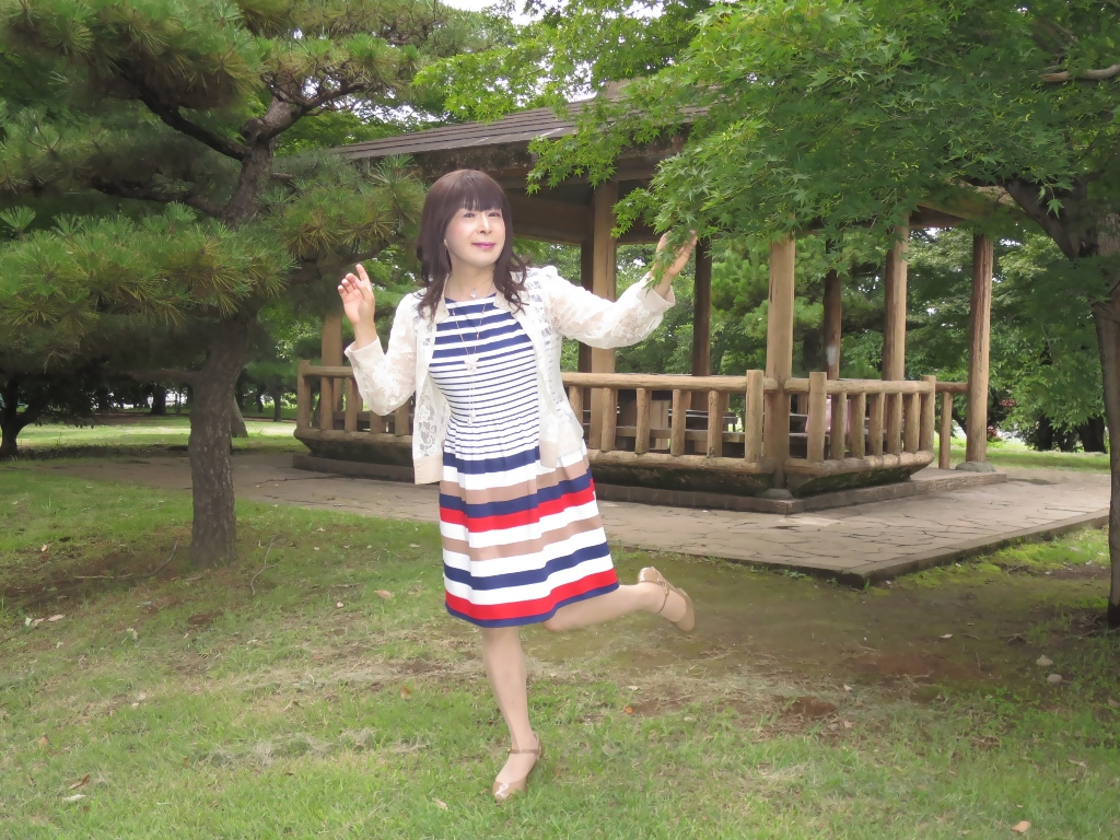 マルチボーダー柄ワンピ公園A(7)