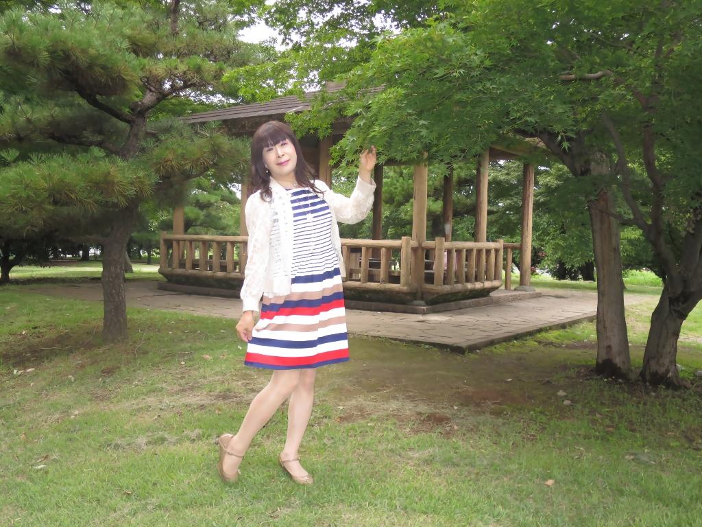 マルチボーダー柄ワンピ公園A(8)
